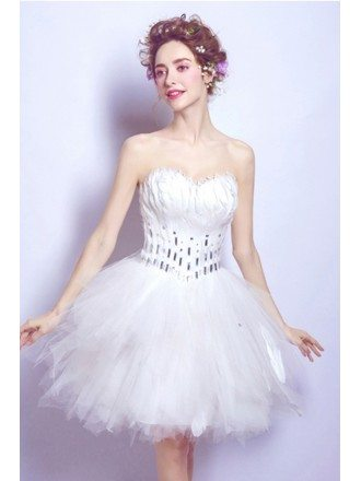 White Beaded Feathers Homecoming Dress In Cocktail Length