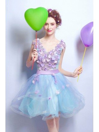 Lavender Blue Floral V-neck Prom Dress Cocktail For Juniors