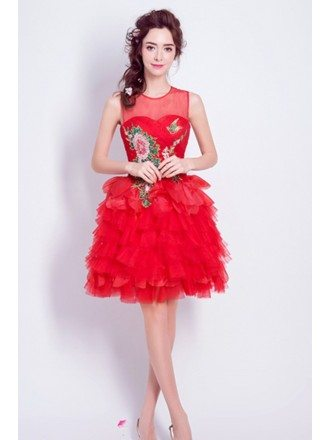 Vintage Tiers Red Homecoming Dress With Sequined Bodice