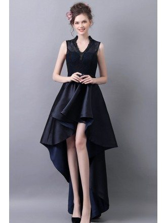 High Low V-neck Formal Prom Dress With Lace Beading Dark Navy Blue