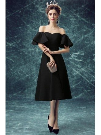 Simple Black Tea Length Party Dress With Off Shoulder Puffy Sleeves
