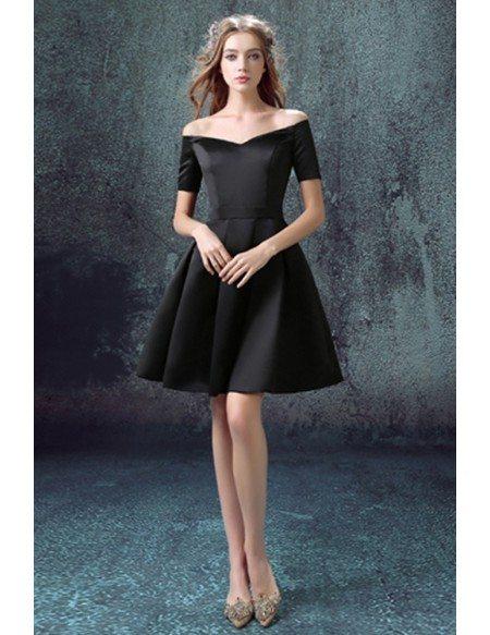 off shoulder prom black cocktail dress
