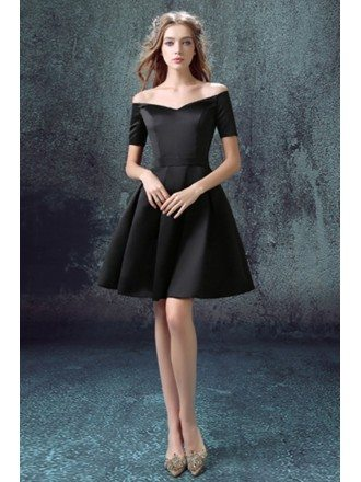 Little Black Cocktail Prom Dress With Off Shoulder Sleeves