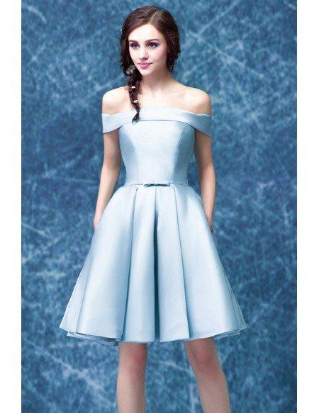 Simple Satin Blue Graduation Dress With Off The Shoulder Straps