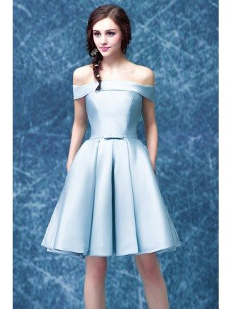 Simple Satin Blue Graduation Dress With Off The Shoulder Straps