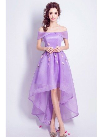 Purple High Low Prom Dress Off The Shoulder With Florals