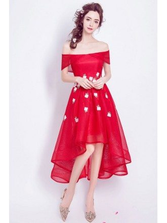 High Low Red Floral Prom Dress With Off The Shoulder Straps
