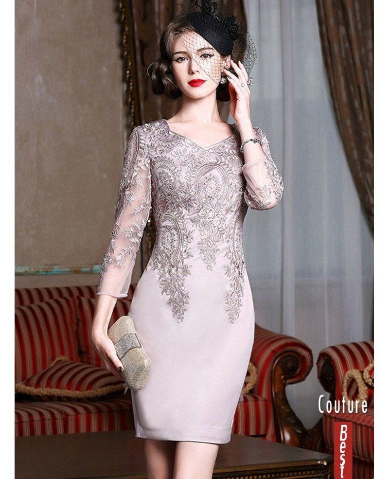 Long Sleeve Embroidered Cocktail Dress For Women Over 6,6