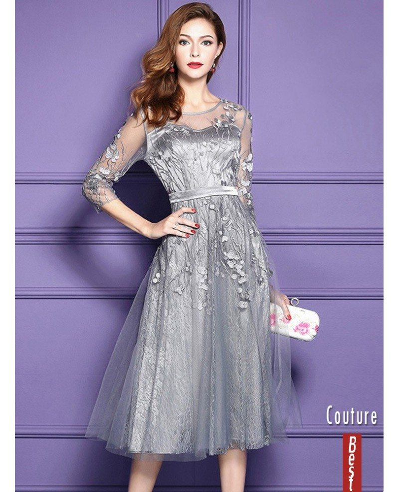 Silver Lace Midi Party Wedding Guest Dress For Fall Weddings With Sleeves Zl8028 Gemgracecom