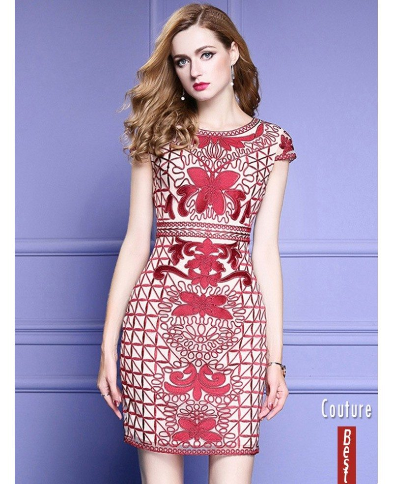Wedding Gown Patterns With Sleeves: Unique Embroidery Pattern Bodycon Wedding Guest Dress With