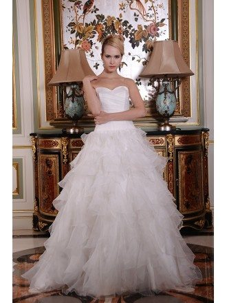 Ball-Gown Sweetheart Sweep Train Tulle Wedding Dress With Cascading Ruffles