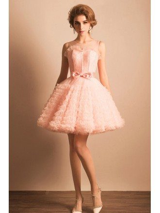 Super Cute Pink Puffy Short Ballgown Prom Dress With Bow