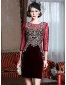 Luxury Embroidered Bodycon Velvet Wedding Guest Dress For Fall Weddings