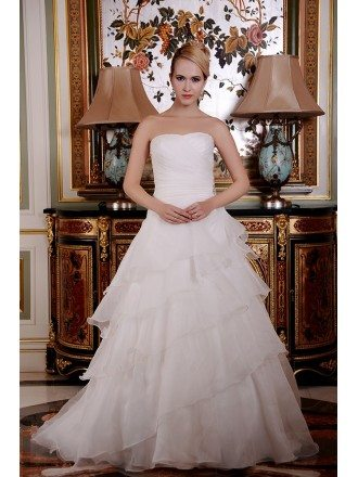 Ball-Gown Strapless Court Train Organza Wedding Dress With Cascading Ruffles
