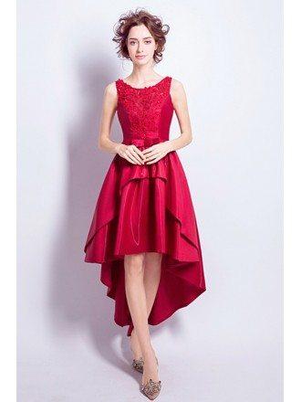 Pretty Burgundy Beaded Lace Prom Dress Hihg Low Sleeveless