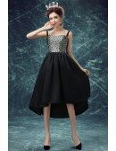 Vintage Black Polka Dot High Low Prom Party Dress For Teens