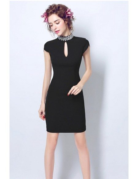 Little Black Bodycon Cocktail Party Dress With Beaded High Neck