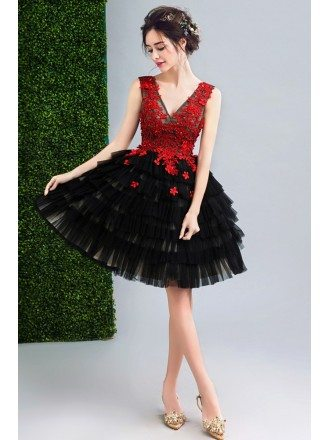 Black And Red Flowers Short Prom Party Dress V-neck Sleeveless
