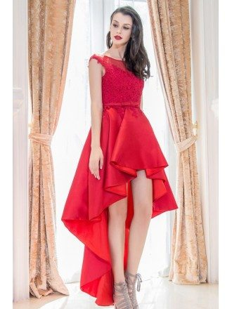 Chic Red High Low Lace Homecoming Prom Dress With Cap Sleeves