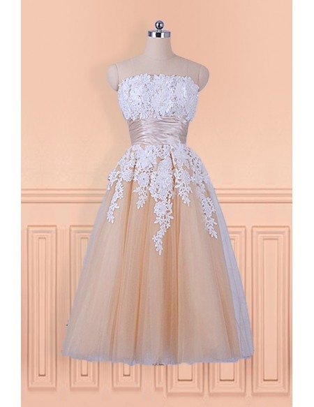 Champagne with White Lace Tea Length Wedding Party Dress Strapless
