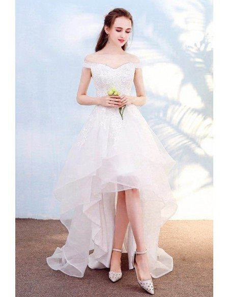 Pretty Lace High Low Beach Wedding Dress with Off Shoulder Outdoor Weddings