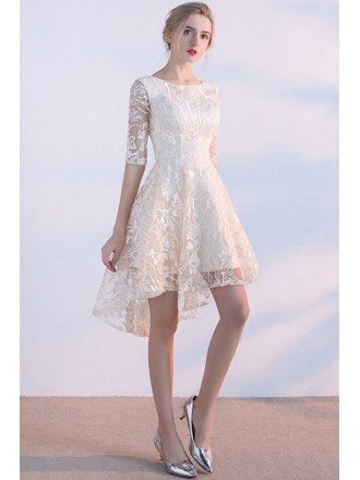 Unique Lace Light Champagne High Low Short Party Dress with Half Sleeves