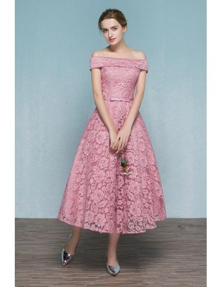 Pink Lace Tea Length Off Shoulder Wedding Party Dress Reception Parties E9857 Gemgracecom