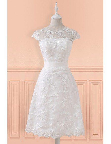 Modest Lace Cap Sleeve Lace Short Wedding Dress For Mature Brides Reception Party