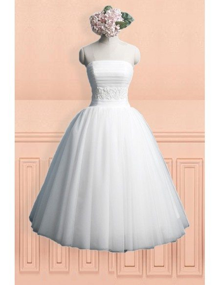 Simple Chic Strapless Ballgown Tulle Tea Length Wedding Dress with Lace Up