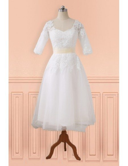 Modest Lace Half Sleeve Tea Length Tulle Wedding Dress with Sash