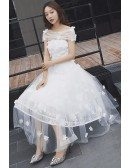 Gorgeous Off Shoulder Tulle Tea Length Wedding Dress with Flowers