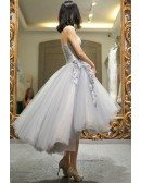 High Low Grey Tulle Strapless Wedding Party Dress Tea Length with Petals