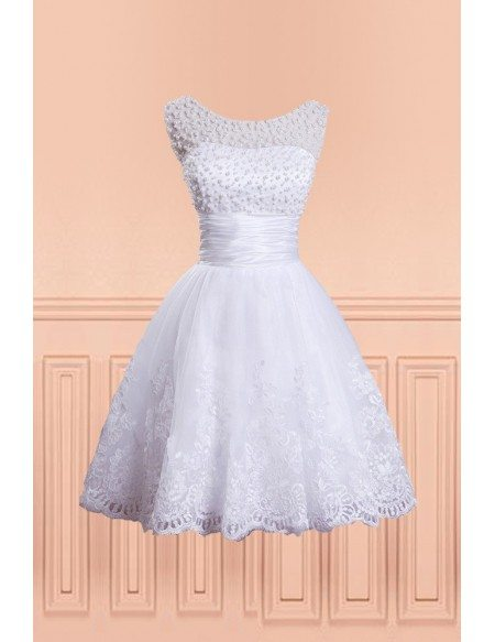 Vintage Chic Beaded Pearls Fun Short Wedding Dress with Beading Round Neck