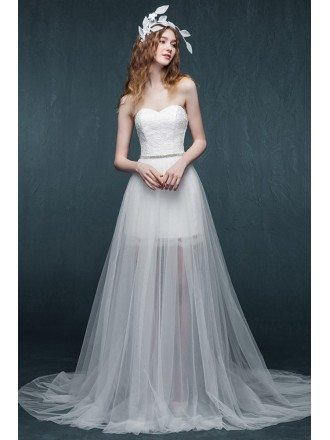 Simple Chic See-through Tulle Sweetheart Wedding Dress Detachable Style