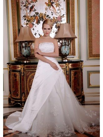 Ball-Gown Strapless Chapel Train Satin Tulle Wedding Dress With Beading Appliques Lace