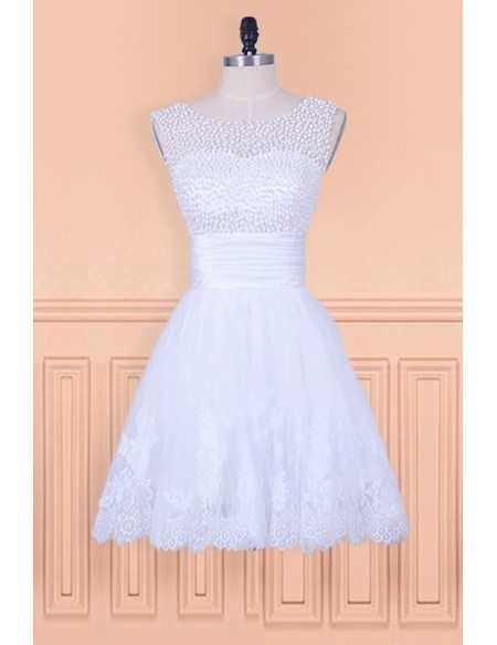 Popular Vintage Beaded Pearls Lace Short Wedding Dress Country Wedding Style