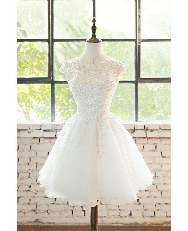 Cute Short Lace Cap Sleeve Short Wedding Dress Lace Tulle E9816 Gemgrace Com,Beach Wedding Guest Dresses White