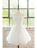 Cute Short Lace Cap Sleeve Short Wedding Dress Lace Tulle