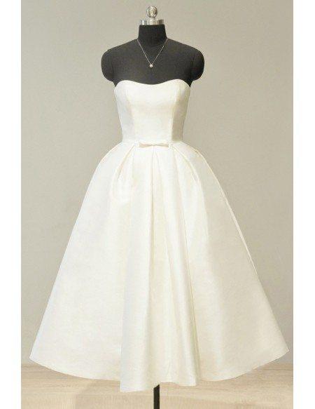 Vintage 70s Ivory Satin Sweetheart Tea Length Wedding Dress For Chic