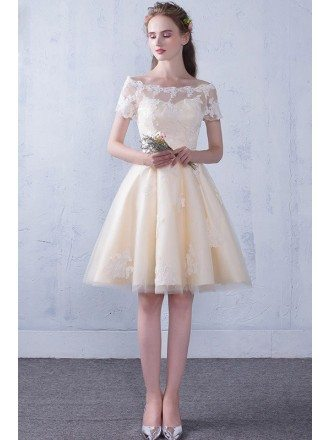 Lace Off Shoulder Short Homecoming Party Dress with Short Sleeves