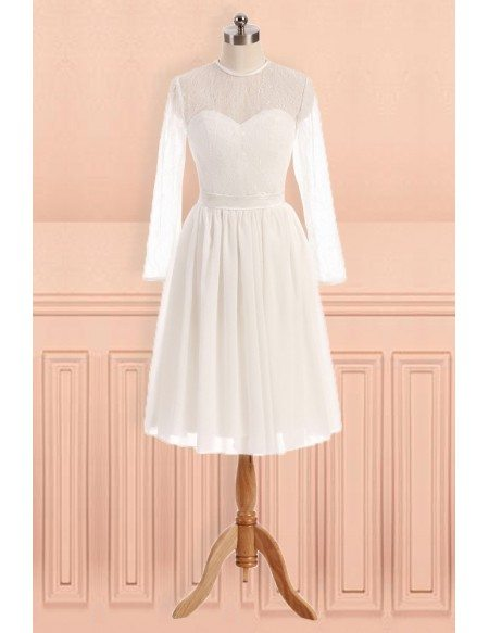 Simple Sheer Round Neck Knee Length Wedding Dress With Long Sleeves E9846 Gemgracecom
