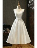 Vintage Satin Chic Tea Length Ivory Wedding Dress Simple with Lace Up