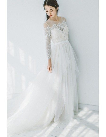 Romantic Flowy Boho Lace Long Sleeves Beach Wedding Dress Illusion Neckline