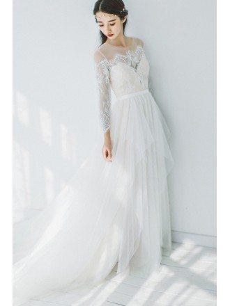 Romantic Flowy Boho Lace Long Sleeves Beach Wedding Dress Illusion Neckline