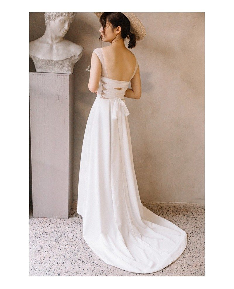 Simple Wedding Dresses Open Back: Simple Chic Illusion Neck Ankle Length High Low Beach