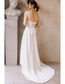 Simple Chic Illusion Neck Ankle Length High Low Beach Wedding Dress Open Back