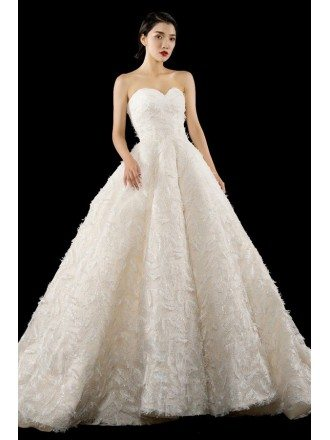 Luxury Bling Feather Ballgown Wedding Dress Sweetheart with Train