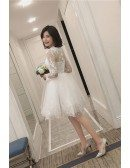 Short Chic Lace Tulle Short Wedding Reception Dress with Long Sleeves Sheer Neckline
