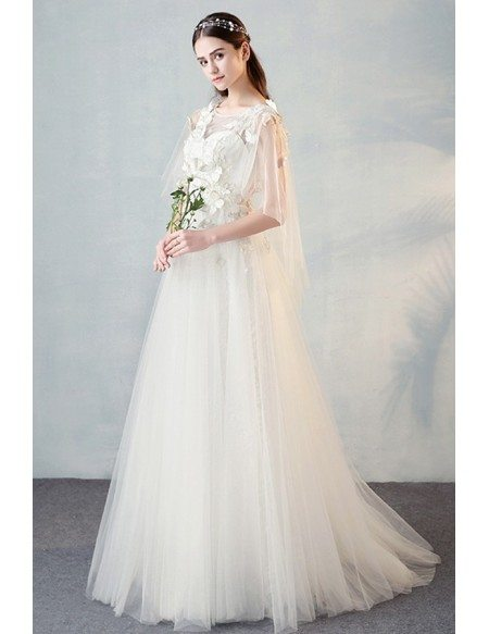 Fairy Butterflies Aline Long Tulle Wedding Dress with Puffy Sleeves For Summer
