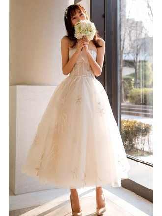 Unique Beaded Lace Tea Length Wedding Dress Vintage Reception Dress Illusion Neck